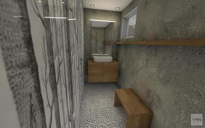 Kisméretű fürdőszoba látszóbetonnal - fürdő / WC ötlet, modern stílusban