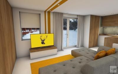 Garzonlakás nappalija és konyhája - nappali ötlet, modern stílusban