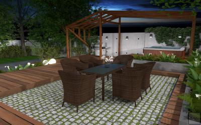 Modern kert terasszal és jacuzzival - erkély / terasz ötlet, modern stílusban