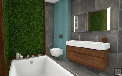 Növényfal a fürdőben - fürdő / WC ötlet, modern stílusban