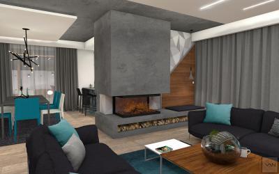 Szürke dominancia a nappaliban - nappali ötlet, modern stílusban