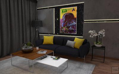 Egyedi faldekoráció - nappali ötlet, modern stílusban