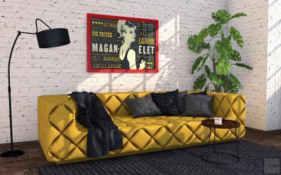 Pihenősarok faldekorral - nappali ötlet, modern stílusban