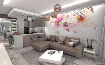Konyha és nappali egy térben - nappali ötlet, modern stílusban