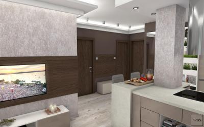 Kis lakás egyterű előszoba konyhája - előszoba ötlet, modern stílusban