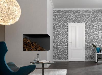 Modern belső kazettás fa beltéri ajtóval - nappali ötlet, modern stílusban