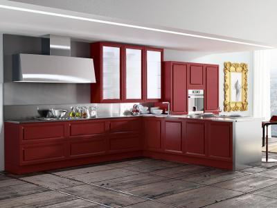 Élénk piros konyha - konyha / étkező ötlet