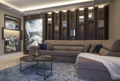 Dekoratív falburkolat világítással - nappali ötlet, modern stílusban