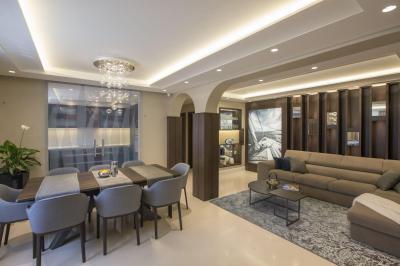 Boltíves térelválasztó a nappali és az étkező között - nappali ötlet, modern stílusban