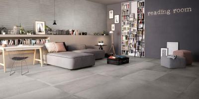 Supergres Living Art Cement - nappali ötlet, modern stílusban