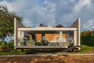 Üvegfalú ház tetőterasszal - homlokzat ötlet, modern stílusban
