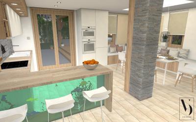 Konyha látványos étkezőpulttal - konyha / étkező ötlet, modern stílusban