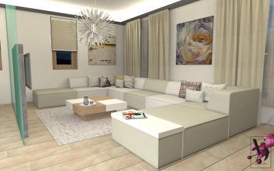 Modulrendszerű sarokkanapé a nappaliban - nappali ötlet, modern stílusban