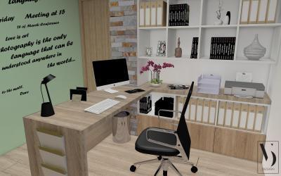 Dolgozósarok feliratos fallal - dolgozószoba ötlet, modern stílusban