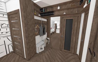 Fával burkolt előszoba - előszoba ötlet, modern stílusban