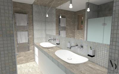 Épített mosdópult a fürdőben - fürdő / WC ötlet, modern stílusban