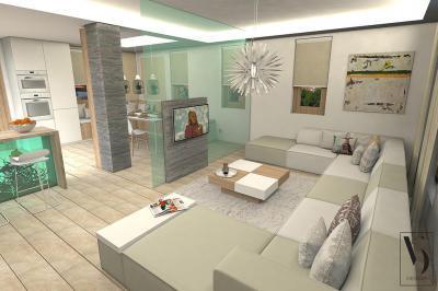 Nappali, konyha és étkező egy térben - nappali ötlet, modern stílusban