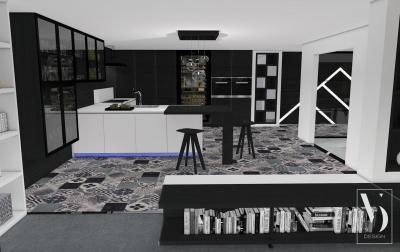 Fekete-fehér konyha dekoratív padlóval - konyha / étkező ötlet, modern stílusban