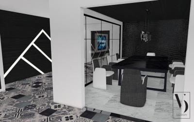 Szeparált étkező dekoratív elemekkel - konyha / étkező ötlet, modern stílusban