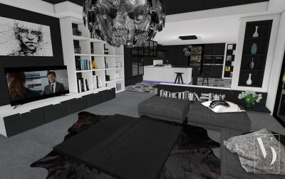 Maszkulin hatású enteriőr csillogó részletekkel - nappali ötlet, modern stílusban