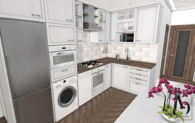 Fehér konyhabútor fa elemekkel - konyha / étkező ötlet, klasszikus stílusban