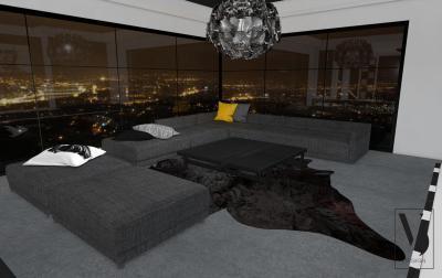 Nappali panoráma ablakkal - nappali ötlet, modern stílusban