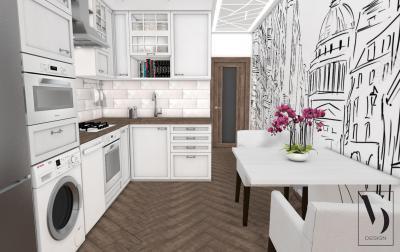 Klasszikus jellegű konyhabútor dekoratív fallal - konyha / étkező ötlet, modern stílusban
