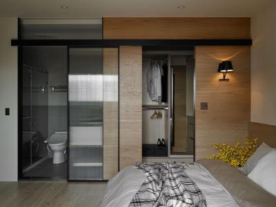 Hálószoba fürdővel és gardróbbal - háló ötlet, modern stílusban