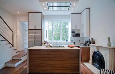 Kandalló a konyhában - konyha / étkező ötlet, modern stílusban