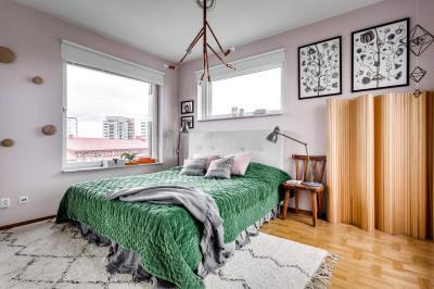 Dekoratív textilek a hálószobában - háló ötlet, rusztikus stílusban