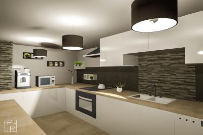 Konyha kő falburkolattal - konyha / étkező ötlet, modern stílusban