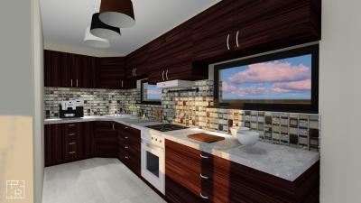 Egyedi falburkolat a konyhában - konyha / étkező ötlet, modern stílusban