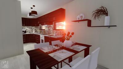 Wenge fehér konyha sok fénnyel - konyha / étkező ötlet, modern stílusban