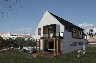 Modern lakóház pergolával - homlokzat ötlet, modern stílusban