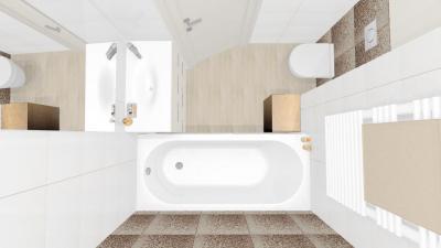 Kicsi fürdőszoba felülnézetben - fürdő / WC ötlet, modern stílusban
