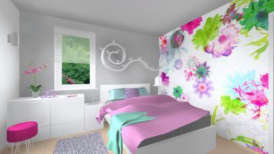 Kamaszlány szobája sok színnel - háló ötlet, modern stílusban