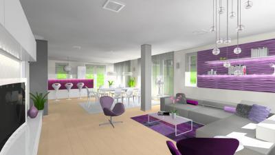 Nappali, konyha és étkező lila részletekkel - nappali ötlet, modern stílusban