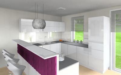 Lila fehér konyha - konyha / étkező ötlet, modern stílusban