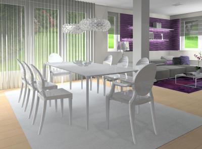 Fehér étkezőbútorok az elegáns nappaliban - nappali ötlet, modern stílusban