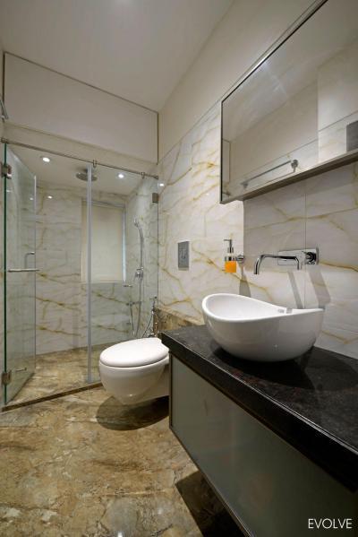 Fürdőszoba elegáns burkolattal - fürdő / WC ötlet, modern stílusban
