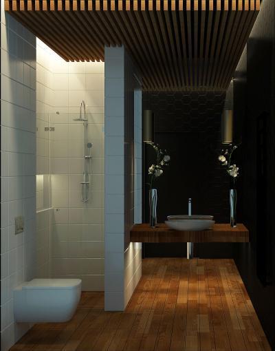 Többféle anyagú és színű burkolat a fürdőben - fürdő / WC ötlet, modern stílusban