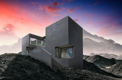 Minimál stílus Lambda Trespa Meteon speciális homlokzatburkolattal - homlokzat ötlet, modern stílusban