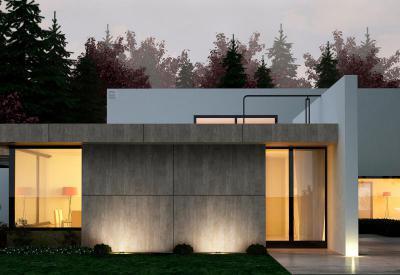 Beton hatású homlokzatburkolat Lambda Trespa Meteon-nal - homlokzat ötlet, modern stílusban