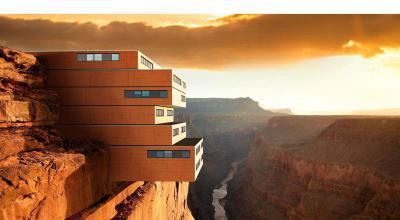 Futurisztikus épület Lambda Trespa Meteon speciális homlokzatburkolattal - homlokzat ötlet, modern stílusban
