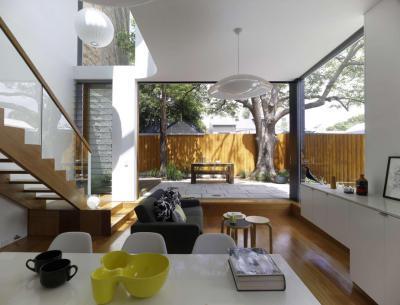 Teraszra vezető nappali - nappali ötlet, modern stílusban