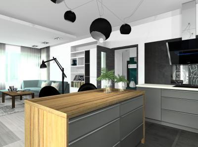 Konyha szürkében - konyha / étkező ötlet, modern stílusban