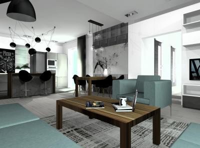 Egyterű nappali, konyha, étkező különleges lámpákkal - nappali ötlet, modern stílusban