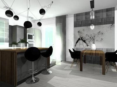 Konyha étkezővel és design lámpatestekkel - konyha / étkező ötlet, modern stílusban