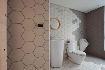 Méhsejt formájú csempe a fürdőben - fürdő / WC ötlet, modern stílusban