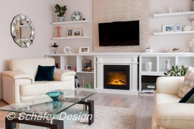 Elegáns nappali 3D falpanellel - nappali ötlet, modern stílusban